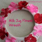 Milk jug flower wreath