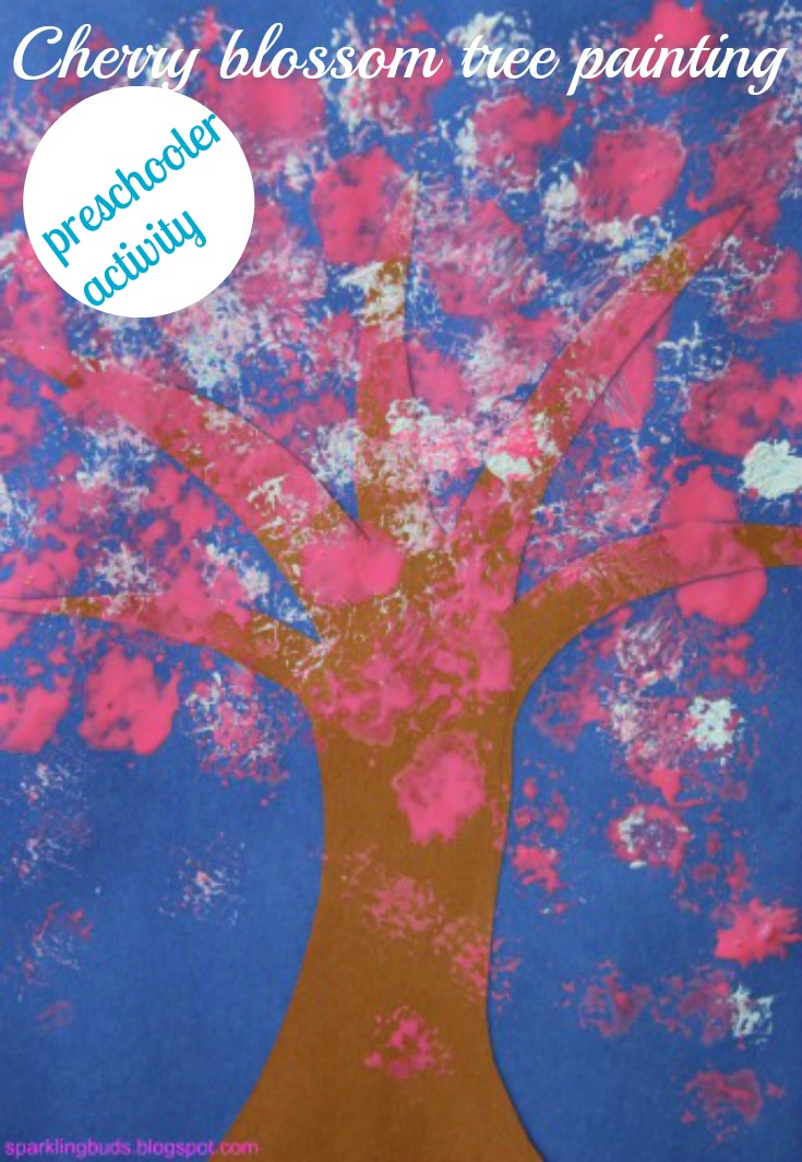 Cherry blossom tree painting for preschoolers