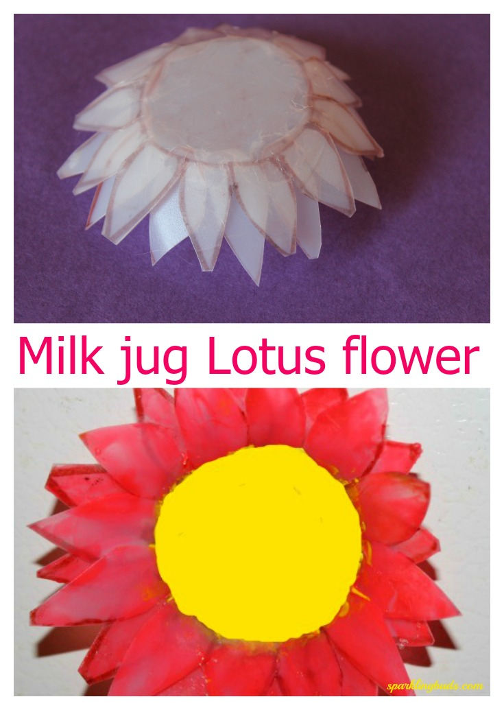 Milk jug lotus flower craft sparklingbuds milk jug crafts for kids mightylinksfo