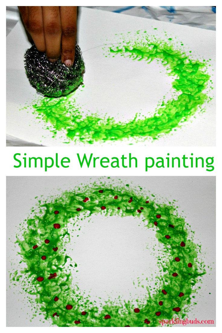 Christmas Painting Ideas.Christmas Wreath Painting With Kitchen Stainless Steel