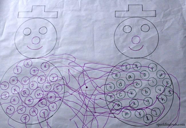 Snowman letter recognition activity