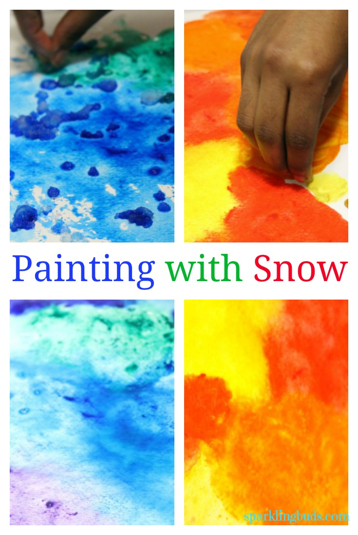 paint snow in watercolor with kids