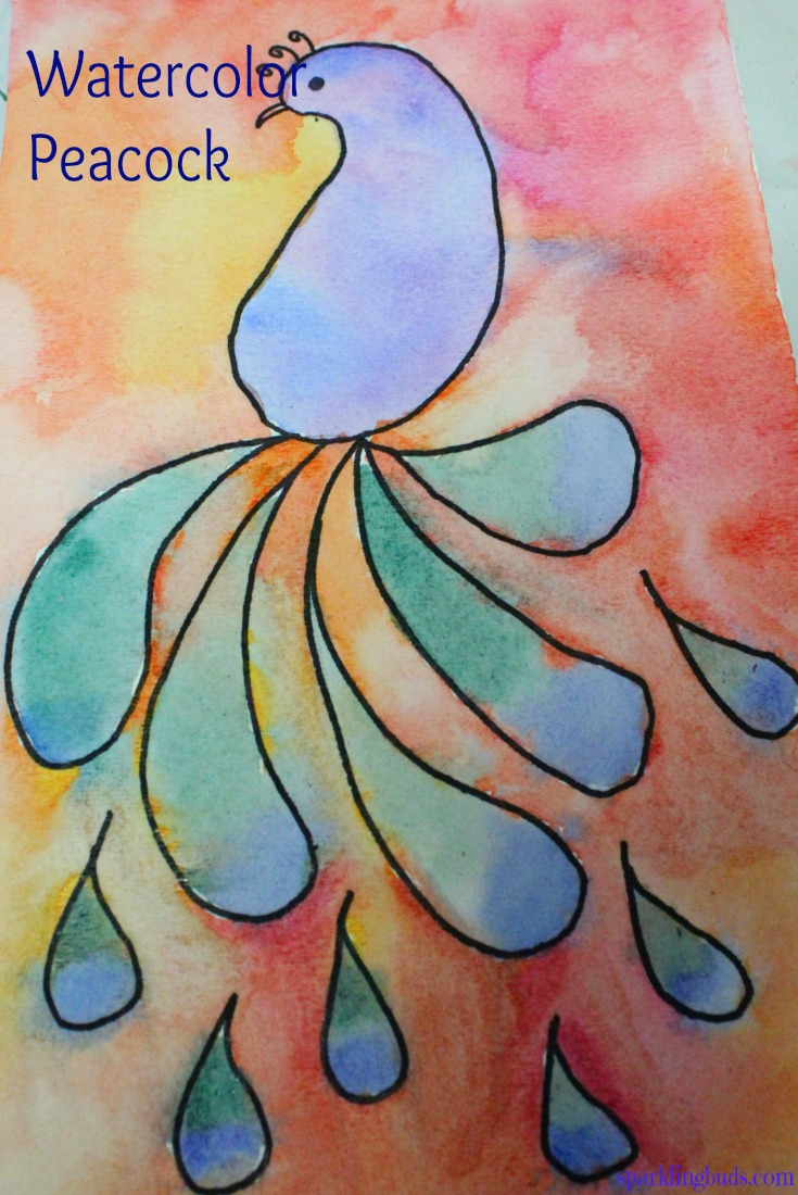 Easy watercolor idea peacock painting with kids for Simple watercolor paintings for kids