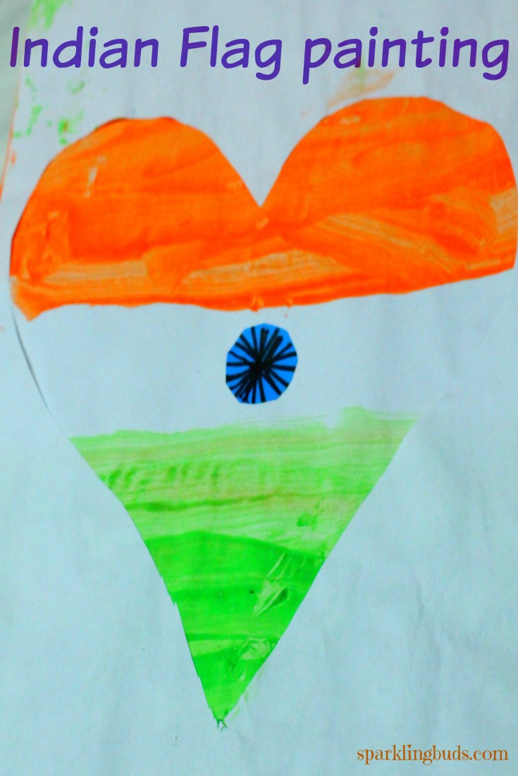Indian Republic day crafts for kids - Flag painting - sparklingbuds