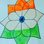 Indian Flag painting ideas – Lotus flower drawing