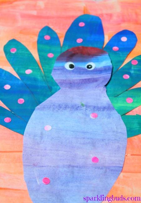 Peacock craft for preschool - sparklingbuds