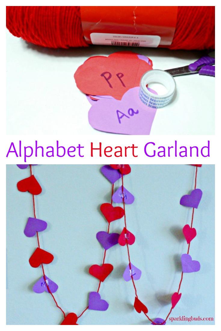 Valentine Crafts - Alphabet Heart Garland - sparklingbuds