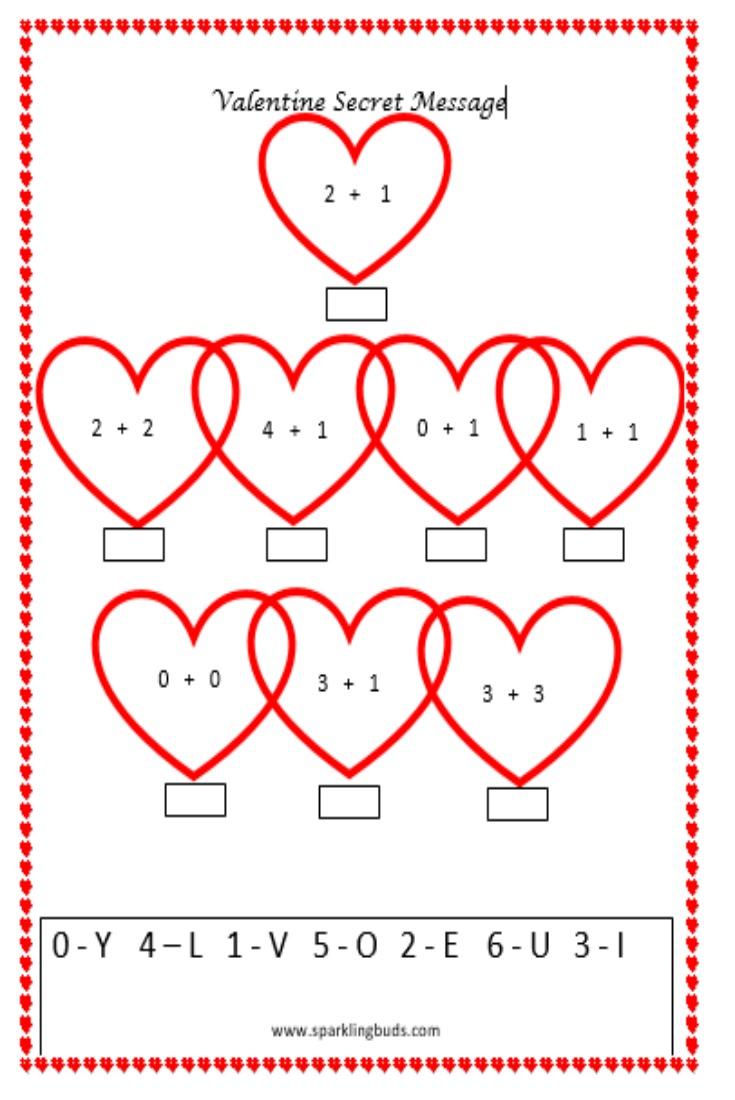 valentine 39 s day math activity secret message sparklingbuds. Black Bedroom Furniture Sets. Home Design Ideas