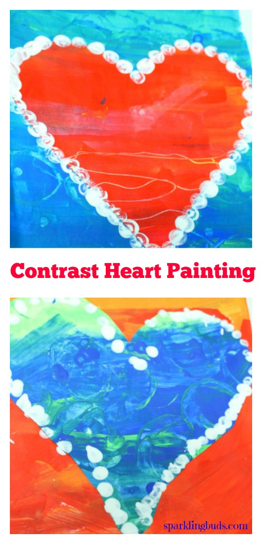 Kids Valentine Crafts Contract Heart Painting Sparklingbuds