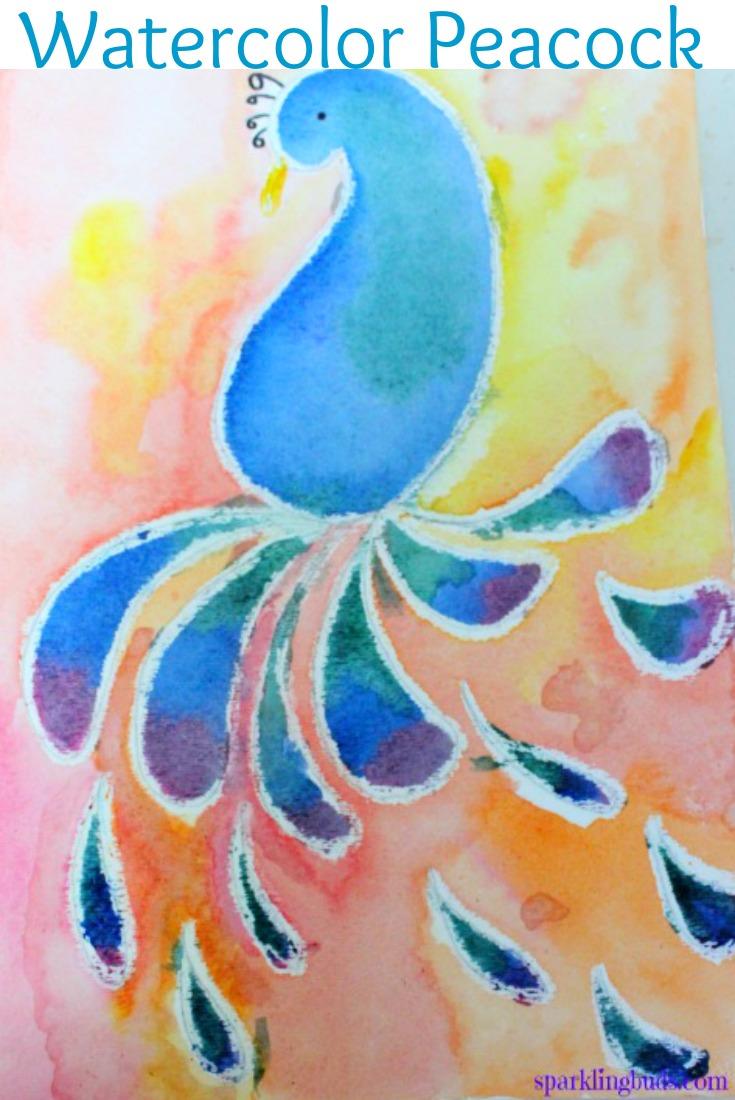 Simple Watercolor Crayon Resist Peacock Craft Idea For Kids