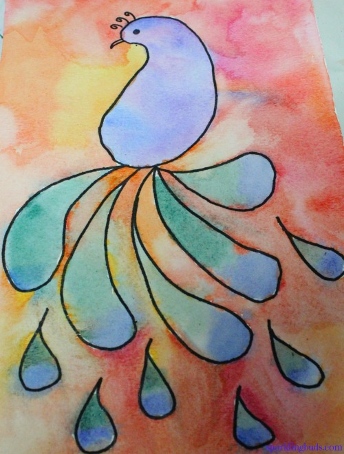 Easy Watercolor Idea Peacock Painting With Kids