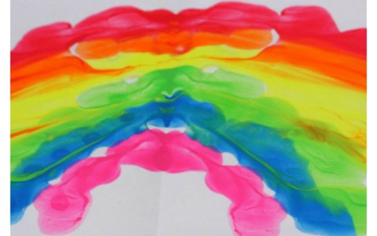 Inkblot rainbow painting technique