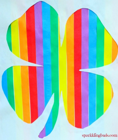 Rainbow crafts ideas like making a rainbow shamrock with blue, green, yellow, red, violet colors.