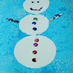Simple snowman painting : Watercolor and Contact paper
