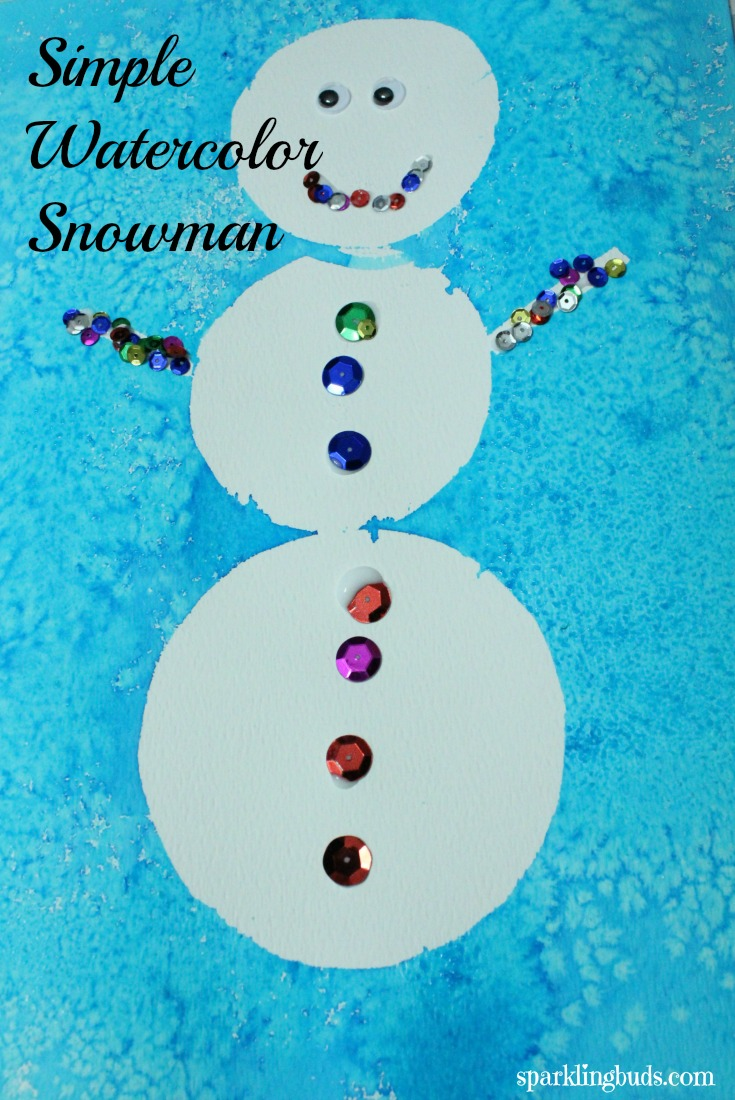 simple snowman painting   watercolor and contact paper