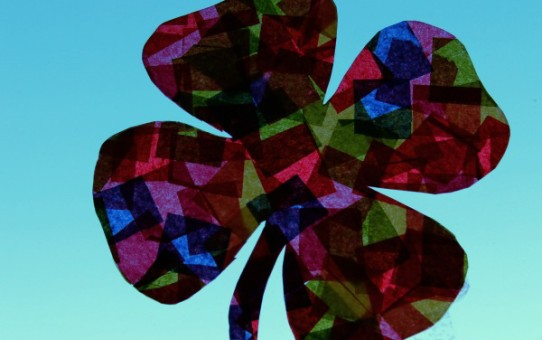 Tissue paper sun catcher shamrock