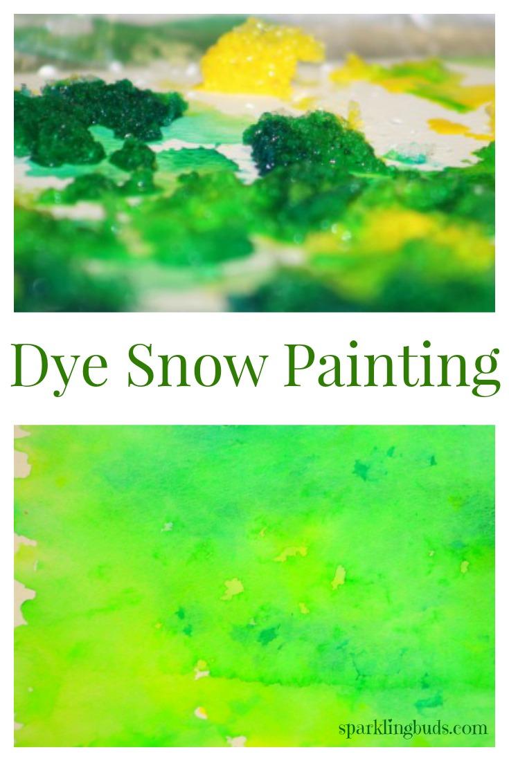 Dye snow painting