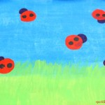 Ladybug painting ideas : Water bottle cap printed art