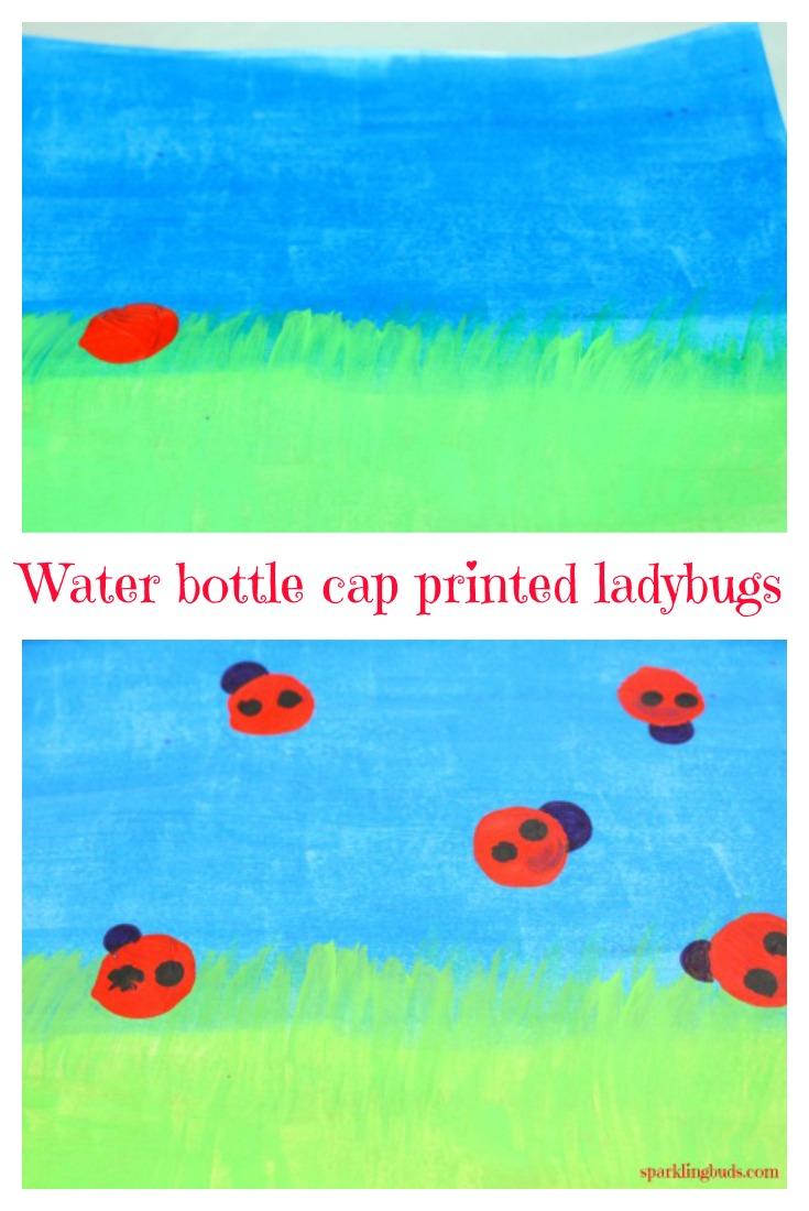 Ladybug Painting Ideas Water Bottle Cap Printed Art Sparklingbuds