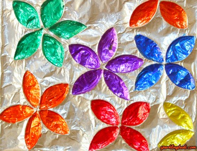 Alumium foil stained glass flowers