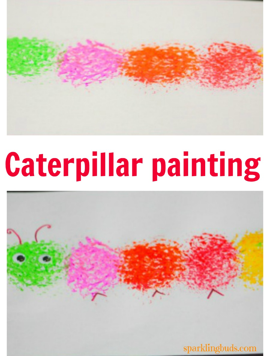 Simple painting idea caterpillar painting