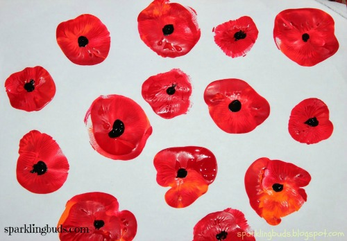 Simple poppy flowers painting with kids